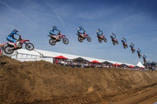 Gautier Paulin jumping the big quad at Lommel