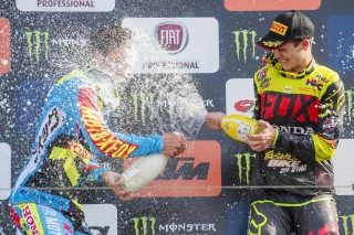 Gautier Paulin and Tim Gajser on the podium in Mantova