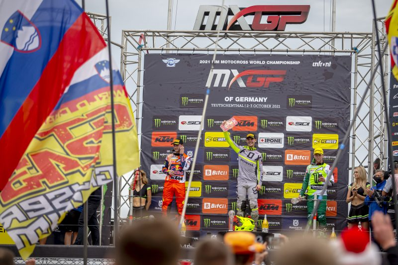 Victorious Gajser reclaims red plate after amazing moto win in Germany